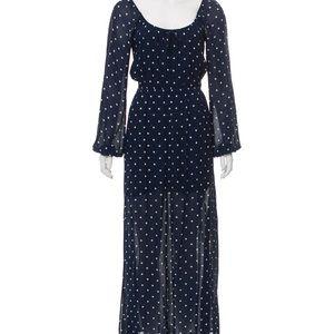 Reformation navy polka dot maxi dress